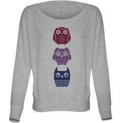 Three Owls On Flowy