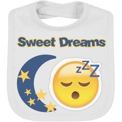 Sweet Dreams Emoji Baby Bib
