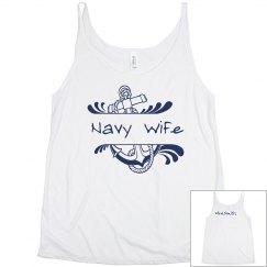 Navy Wife Flowy Tank