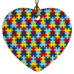 Autism PUZZLE Porcelain Heart Ornament