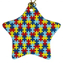 Autism PUZZLE Porcelain Star Ornament