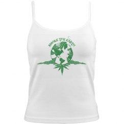Smoke The Earth - Ladies Tank - White