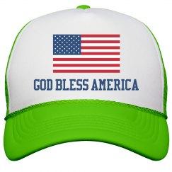 God Bless America USA Flag Hat
