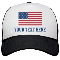 Custom Text American Flag Hat