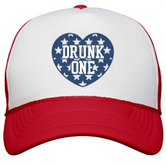 Drunk 1 BFF USA America Hat