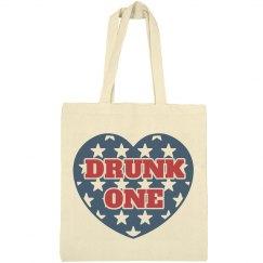 Drunk 1 BFF July 4th USA Tote