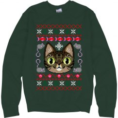 Cat Ugly Sweater Green