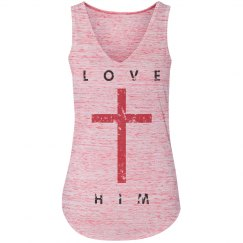LOVE HIM - Red Cross V-Neck Tank