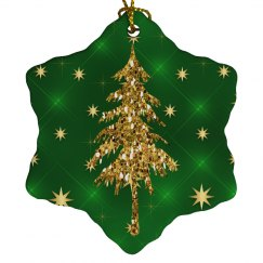 Golden Christmas Tree & Stars Green