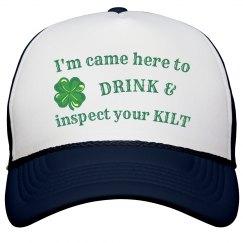 Drink beer/kilt cap