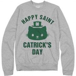 St Catricks Day Green Cat Clover
