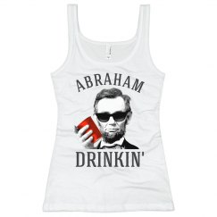 abraham lincoln drinkin' white womens tank top