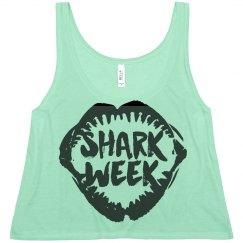 Shark Week Flowy Crop