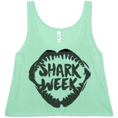 Shark Week Flowy Crop