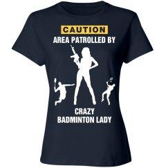 Crazy badminton lady