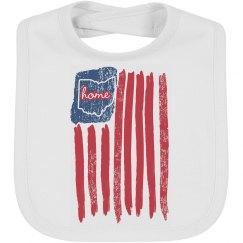4th of July Flag Ohio Home Bib