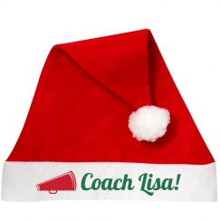 Cheer Coach Santa Hat With Custom Name And Art