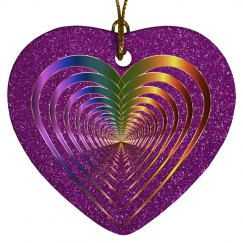 Shiny Gold & Purple Open Hearts Within a Heart