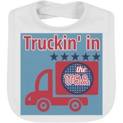 Truckin' in the USA Baby Bib