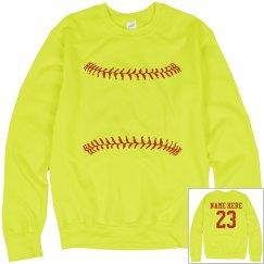 A Softball Girl Trendy Custom Player Neon Yellow Fleece