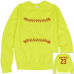 A Softball Girl Trendy Custom Player Neon Yellow Fleece
