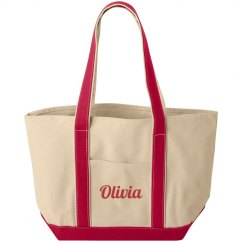 Olivia personalized canvas tote bag