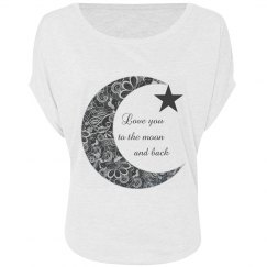Love You To The Moon and Back Ladies Scoop Neck Bling