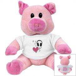 Music Heart Pink Pig