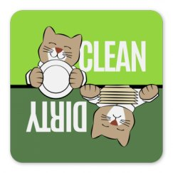 Dishwasher Cat with Dishes