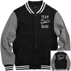 Personalized Rugby Coach Fleece Varsity Jacket