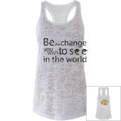 sleeveless slogan shirt
