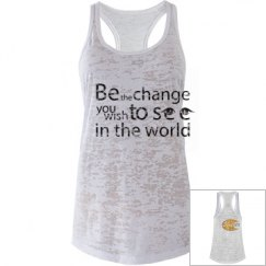 sleeveless slogan shirt