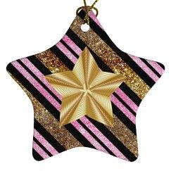 Fancy Golden Star Pink Gold & Black Stripes