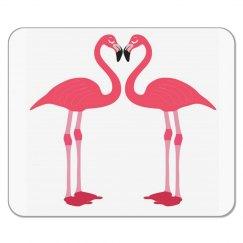 Pink Love Flamingos Mousemat