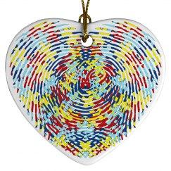 Autism Porcelain Thumbprint Heart Ornament