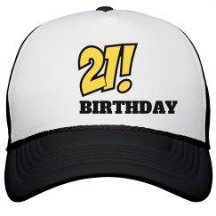 Mens 21ST Birthday Cap