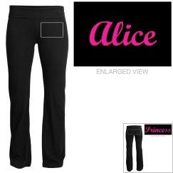 Alice, yoga pants