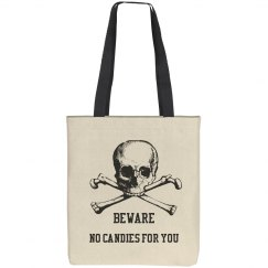 No Candies for You Halloween Skull Tote
