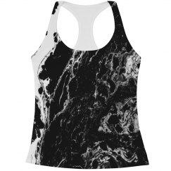 Black Marble Print Women's Workout