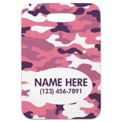 Pink Camo Custom Travel Tag