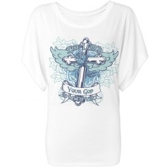 Blue The Lord is with You Draped Sleeve Dolman