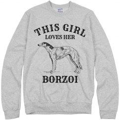 Girl loves her Borzoi