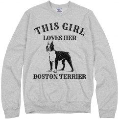 Girl loves Boston Terrier