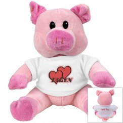 Red Hearts Pink Pig