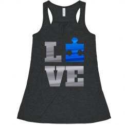 Metallic Autism Awareness Love