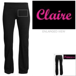 Claire, yoga pants