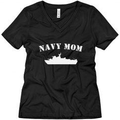 Navy Mom Rhinestone Tee