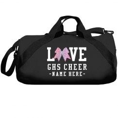 Custom Love Cheer Glitter Bow Bag