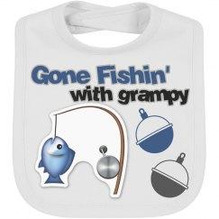 Gone Fishin' Grampy Emoji Bib