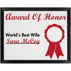 Award Of Honor Best Wife